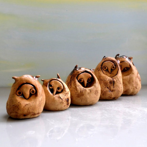 Ceramic Owls Owls Sculpture Owls Family Decor Family By