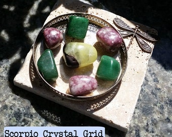 "Zodiac ""Scorpio"" Crystal Astrology Grid - Prehnite, Lepidolite & Green Aventurine"