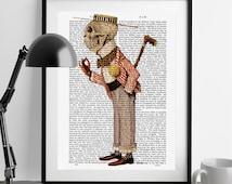 Skeleton Gentleman in Boater - Upcycled Dictionary Print, skeleton Illustration skeleton print skeleton poster art, roaring twenties style