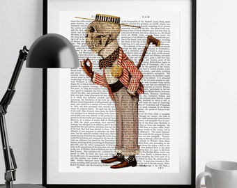 Skeleton Gentleman in Boater - Upcycled Dictionary Print, skeleton Illustration skeleton print skeleton poster art, roaring twenties style