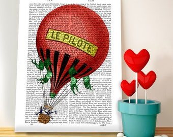 Le Pilote Hot Air Balloon Print -  Balloon Illustration family room wall art wall family room wall decor hot air balloon decor bedroom décor