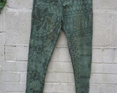 Vesna Design pixie leggings with psychedelic patterns and tie dye effect/ Psytrance festival clothing OOAK steampunk