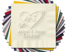Vintage Heart with Arrow Personalized Wedding Napkins  (WRT827/WRT828) Embossed Wedding Cake Napkins Cocktail Luncheon