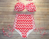 Bow Bandeau Bikini - Vintage Style High Waisted Pin-up Swimwear - Criss Cross Cut Out Sides - Unique & So Cute!