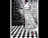 Black and white linocut girl bride in ruffled dress in checkered ballroom with pink roses, bridal wedding gift