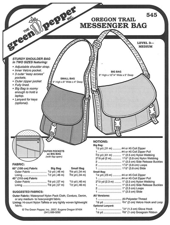 Sewing Pattern Oregon Trail Messenger Bag Pattern Green