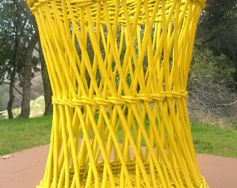 Yellow Wicker Basket Vintage Garbage Can Trash Bin Laundry