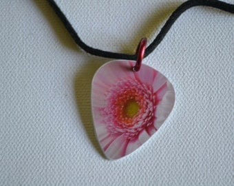 Upcycle Guitar Pick Jewelry, Pink Flower Guitar Pick Charm Necklaces