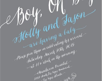 Boy, Oh Boy Baby Shower Invitation
