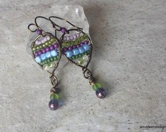 Purple & Green Czech Glass Beaded Dangle Earrings  E-237