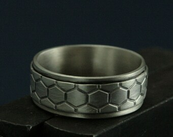 Unique Men's Ring--Genus Apis Band--Men's Wedding Band--Honeycomb Ring--Wide Men's Band--Beehive Ring--DNA Ring--Helix Band--Bee Ring