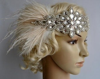 Glamour Rhinestone flapper Gatsby Crystal Headband, Wedding Headpiece, Bridal Headpiece, 1920s Flapper feathers