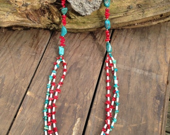 Coral & Turquoise three strand necklace