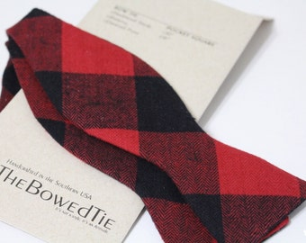 Men's Freestyle Bow Tie, Red and Black Brushed Flannel Bow Tie, Gingham, Buffalo Plaid, Self tie bow tie, The Hull