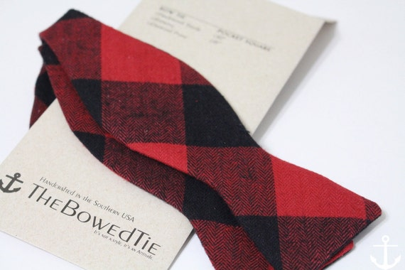 Men's Freestyle Bow Tie, Red and Black Flannel Bow Tie, Gingham, Buffalo Plaid, Self tie bow tie, The Hull