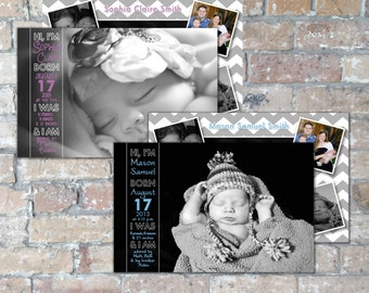 Hi Birth Announcement {Boy or Girl} {Digital Item}