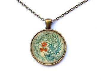 Phoenix necklace Art charm Animal pendant Bird jewelry CWAO18