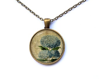 Blue flower Botanical necklace Art jewelry pendant Antique style CWAO24-1