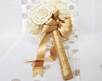 Bridal Bouquet or Bridesmaid bouquet , Wedding Cream /Gold  Bouquet, Sola flowers