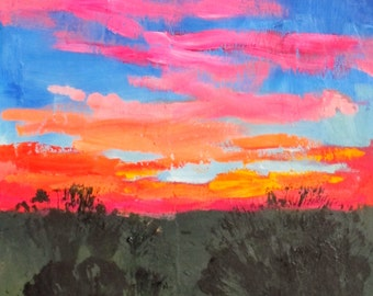 """Sunset, olive tree, blue, pink, orange, abstract landscape, vibrant, original oil painting, contemporary art, """"I am in an idyll with you"""""""