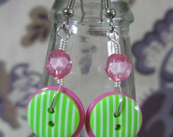 Pink and Lime Button Earrings