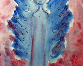 Angel Painting, Original Acrylic Painting, Guardian Angel, Small Paintings, Angel Art