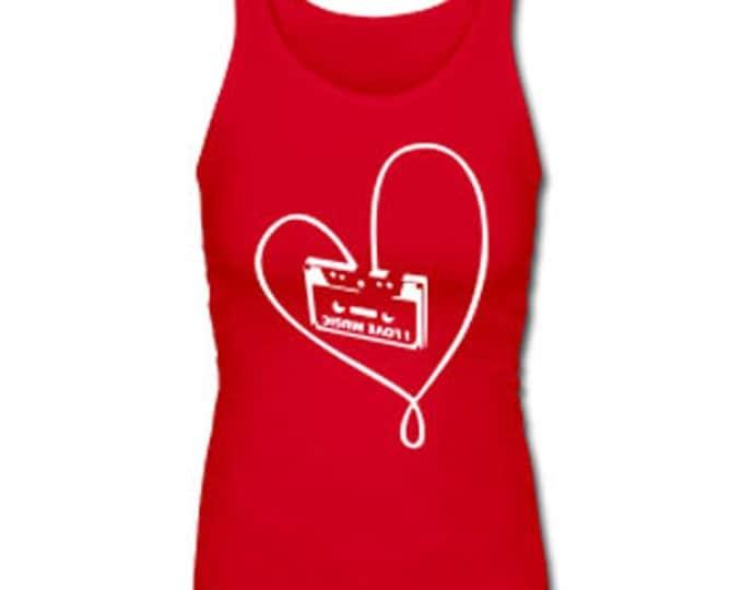 Classic Cassette Tape Love Retro Women's Premium Tank Top - Red