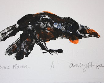 Black Raven- Monotype- Original Print