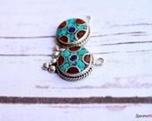 1 Pair of Ethnic Tibetan Pendants - Earring Pendants - Handmade Tibetan Pendants - Coral Turquoise Lapis Inlay - Jewelry Making Supplies