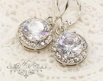 10% OFF Wedding Jewelry Wedding Earrings Bridal Earrings Bridesmaids Earrings AAA Cubic Zirconia Earring diamond look - MACEY