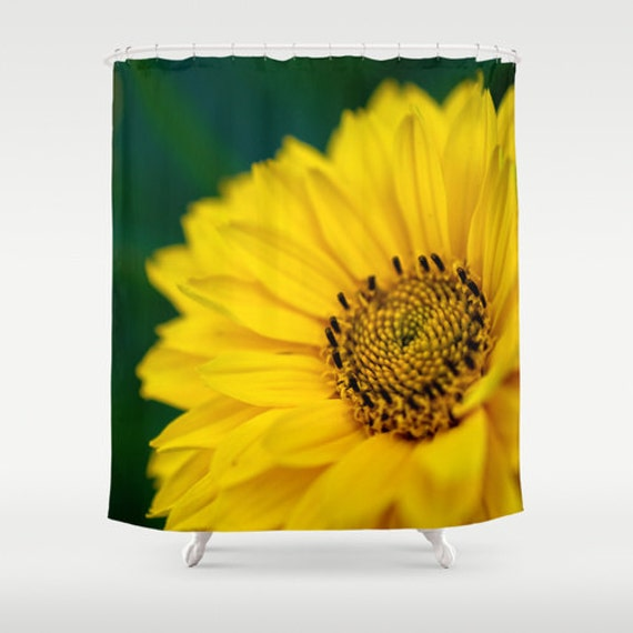 Shower Curtains, Yellow Daisy, Flower Photography, Macro Photo, Botanical Bathroom, Bath Accessories, Yellow and Green, Close Up Daisy