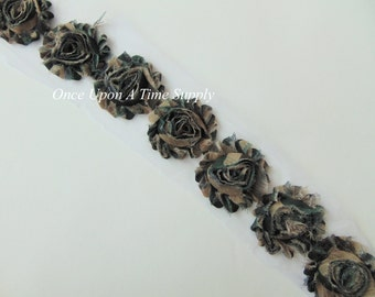 Army Camo Shabby Rose Trim - Shabby Chiffon Rosettes -  1/2 Yard or 1 Yard - Once Upon A Time Supply - Hairbow Making Supplies