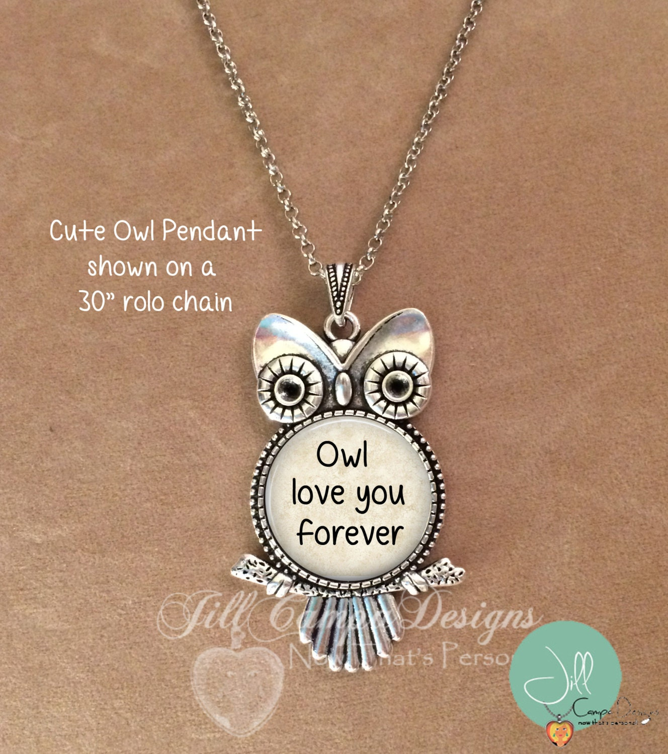 Owl necklace Owl love you forever Owl pendant