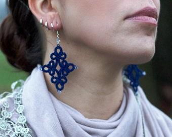 Handmade Tatting Earrings, cotton, blu