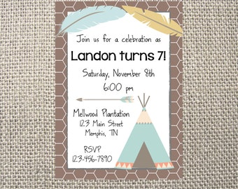 PRINTED or DIGITAL Tribal Camping Birthday Party Invitations 5x7 Customized Tribal Invites Design 0.82 each