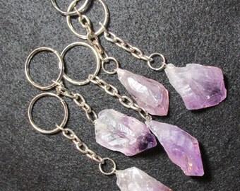 Amethyst KeyChain, Raw Amethyst Crystal, Crystal Point Key Ring, Key Chain, Natural Amethyst, Purple Quartz, Amethyst Stone, Metaphysical