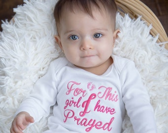 For This Girl I Have Prayed Embroidered Newborn Infant Gown
