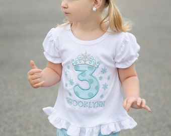 Snow Queen Birthday Shirt with Name and Embroidered Name