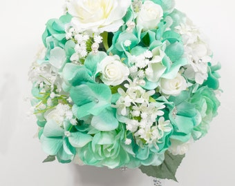 Silk Two piece WEDDING bouquet and boutonniere
