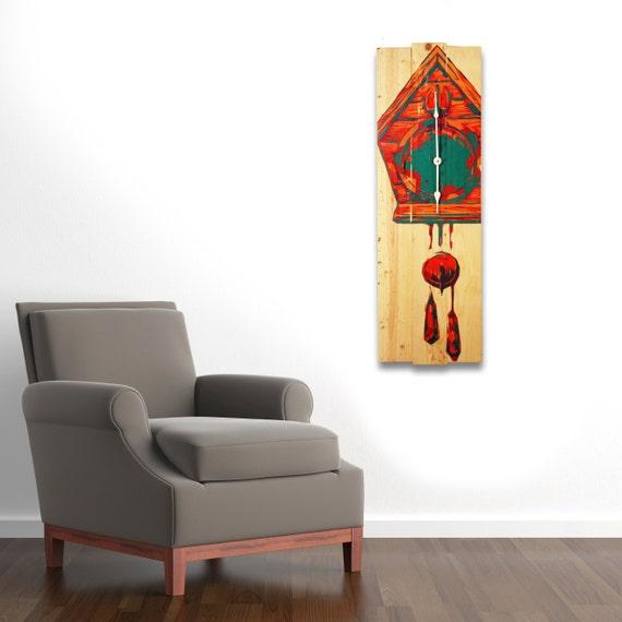 Large Wall Clock Modern Cuckoo Clock Art On Solid Wood Boards
