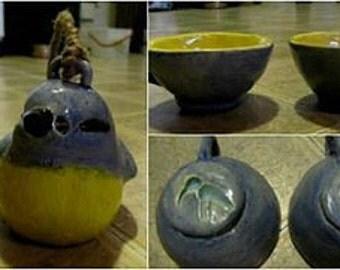 Handmade Matching Ceramic Bird Teapot and Teacup Set