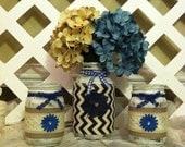 Distressed Mason Jars - Home Decor - Denim - Mason Jars - Rustic Mason Jars - Rustic Wedding - Wedding Centerpieces - Shabby Chic Mason Jars