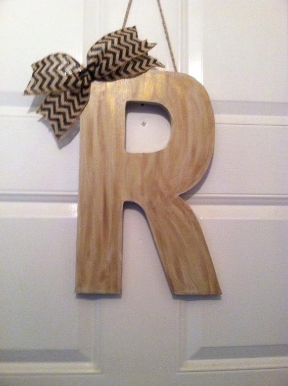 Items Similar To Wood Canvas Monogram R Monogram Letter