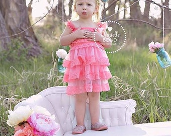 Pink Ruffle Lace Dress Toddler - Lace Girl - Photo toddler - Spring Dress - Summer Dress - Birthday Dress - Photo shoot - lace - sun dress