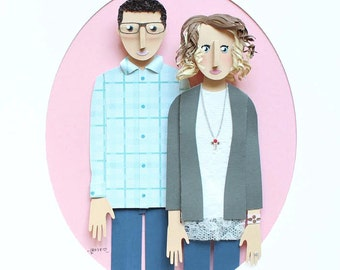 "Custom Couple Portrait made from Paper from Photo. 8.5"" x 11"" Great gift for Newlyweds."