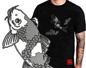 KOI 鯉 - Koi carp T shirt. Koi fish Tee from Japan. Black Japanese tee shirt. For man & woman, 9 size, unique print design - FREE SHIPPING