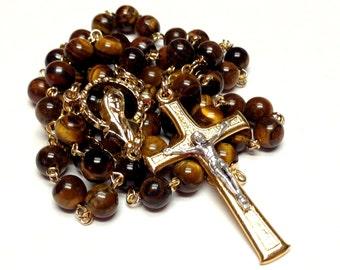 Tiger Eye Catholic Handmade Rosary in Gold