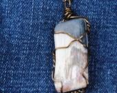 Petrified wood necklace; wire wrapped petrified wood; wire wrap stone; wire wrap wood; natural stone necklace; petrified wood pendant