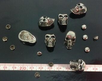 10 Metal Skull Rivet Studs Punk Style Silver tone  Decoration DIY Jeans Leather Craft.