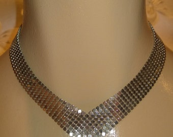 Silver Mesh Chevron Necklace